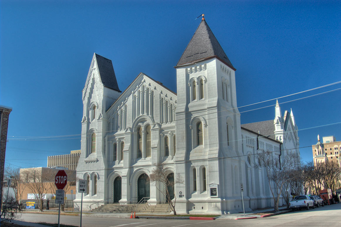 First Presbyterian Church (1872-89) at 1903...a corner of 19th St.. Galveston, Texas
