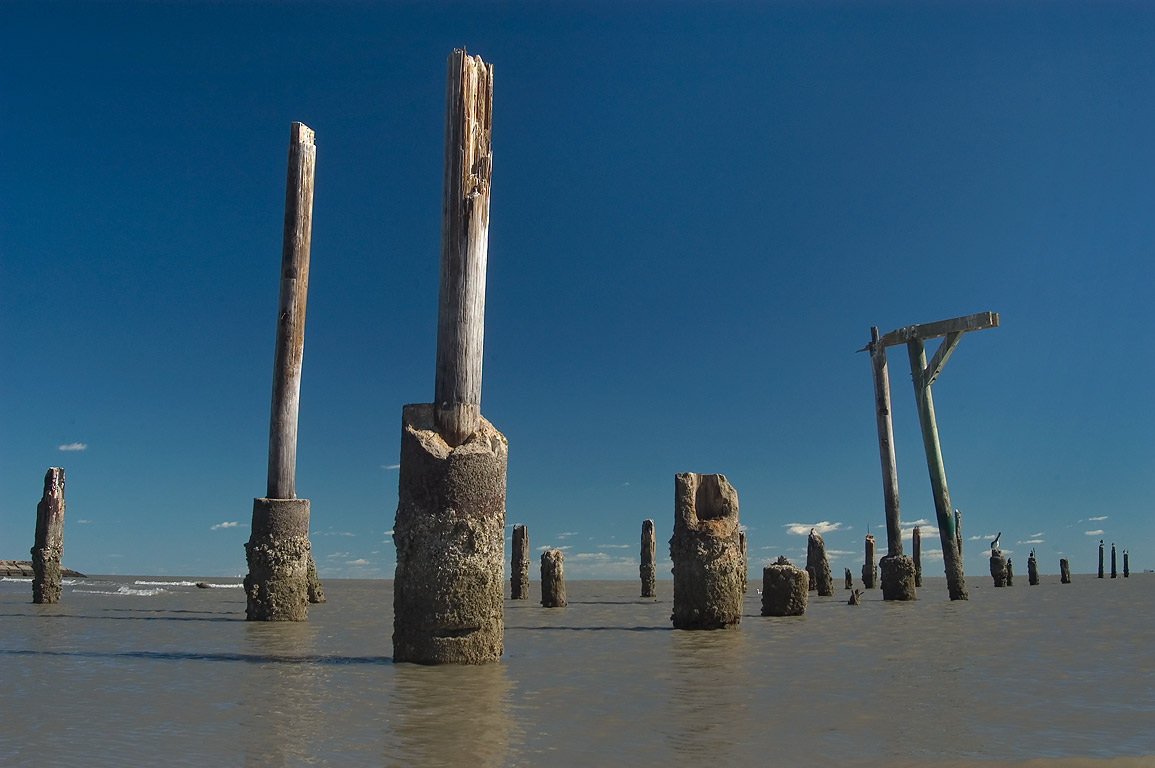 Skeletal remains of a pier that used to hold...by hurricane Ike. Galveston, Texas