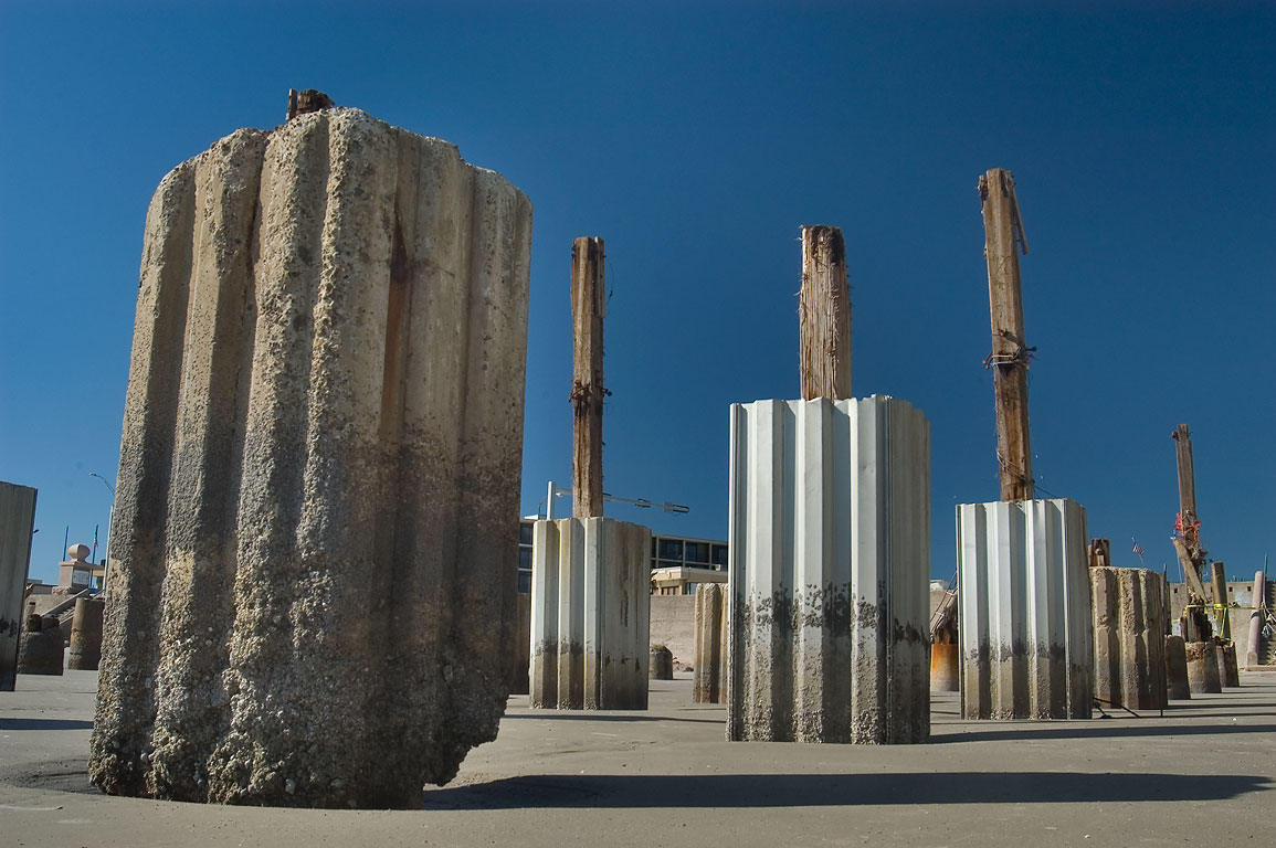 Pilings of Murdoch's Bathhouse, a gift shop and...by hurricane Ike. Galveston, Texas