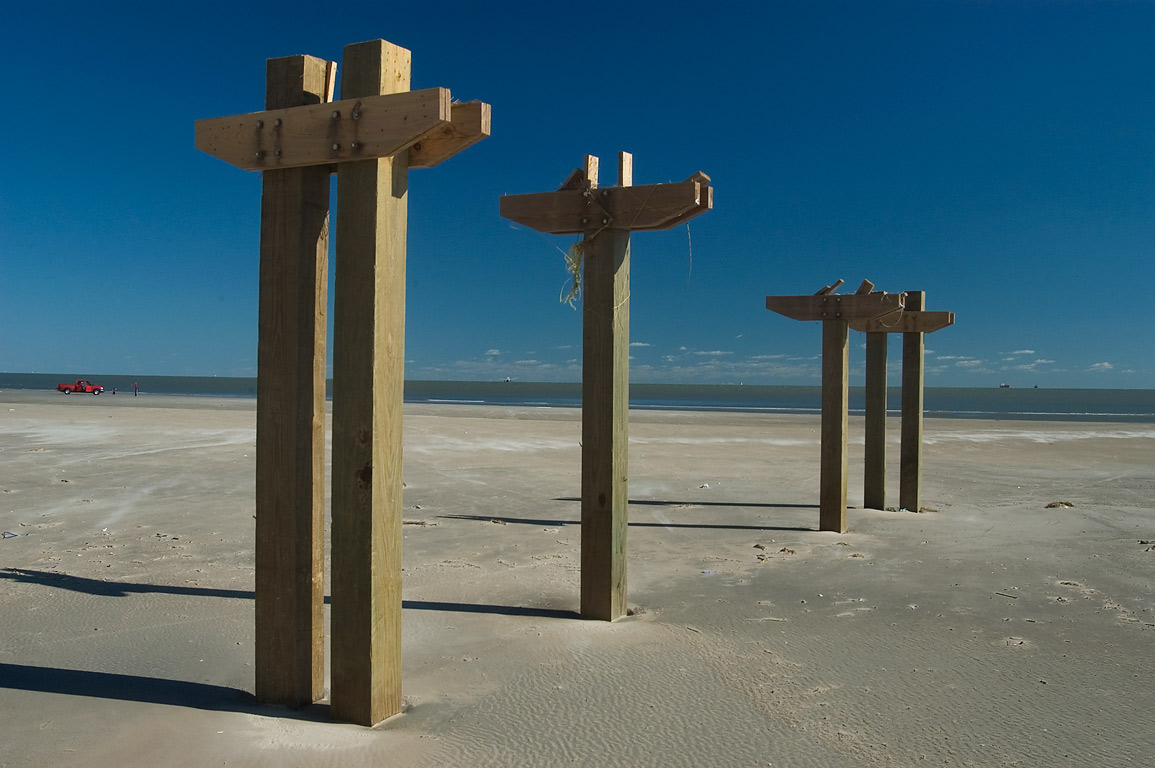 Remains of beach access boardwalk from Palisade...a hurricane Ike). Galveston, Texas
