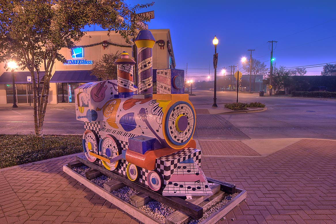 Model of a train on Main St. in downtown Bryan. Texas