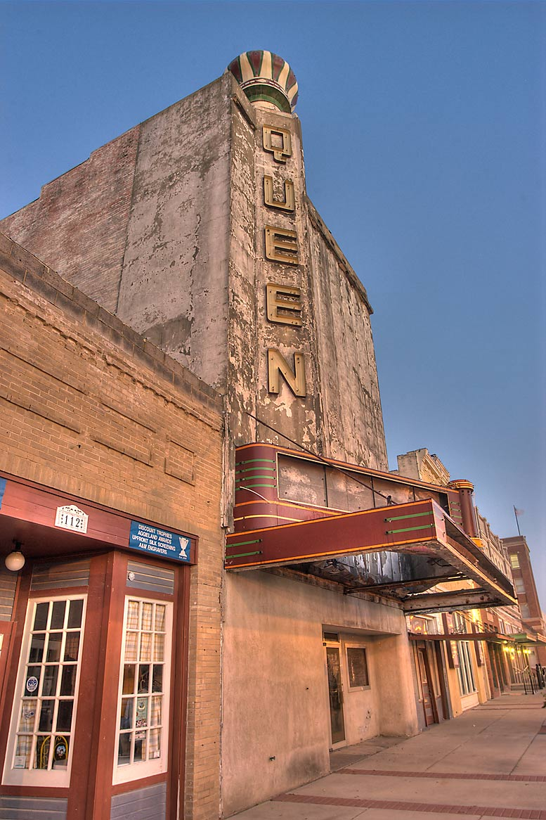 Queen movie theater on Main St. in downtown Bryan. Texas