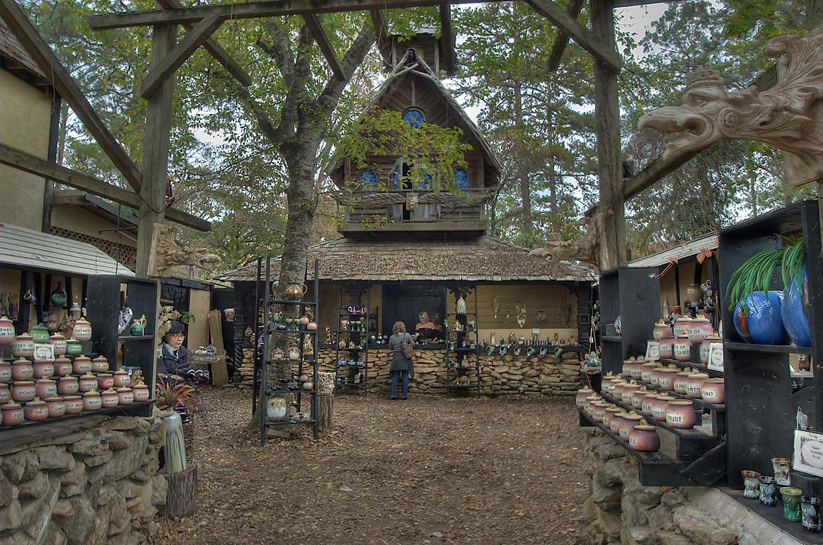 Clay pottery craft booth at Texas Renaissance Festival. Plantersville, Texas