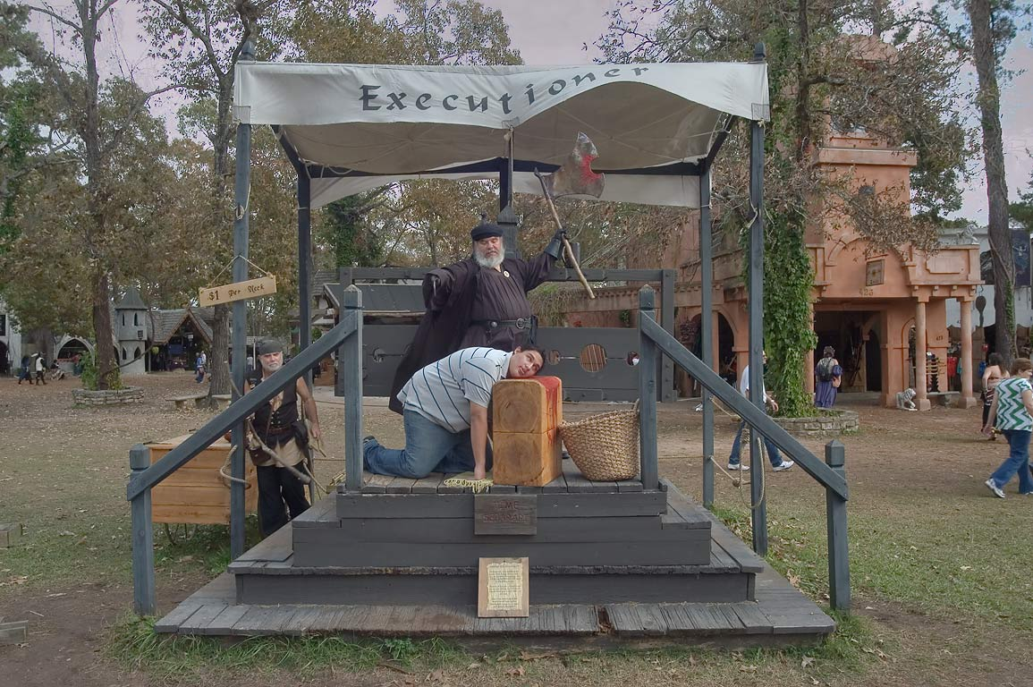 Executioner attraction at Texas Renaissance Festival. Plantersville, Texas
