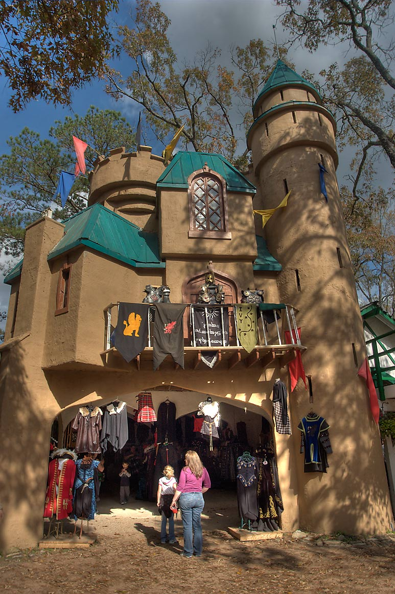 Gowns, garb, and clothing craft booth at Texas Renaissance Festival. Plantersville, Texas