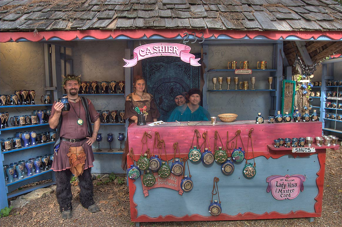 Pottery craft booth at Texas Renaissance Festival. Plantersville, Texas