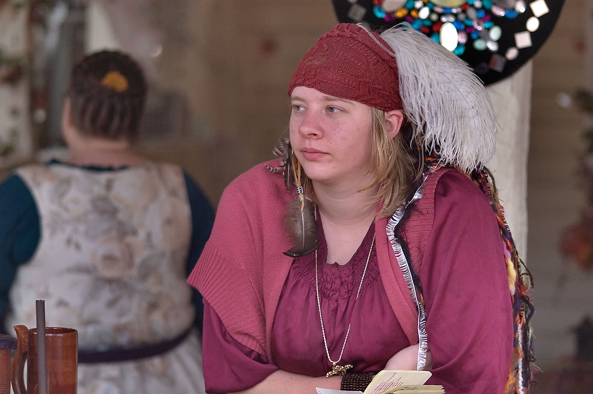 Vendor of a food booth at Texas Renaissance Festival. Plantersville, Texas