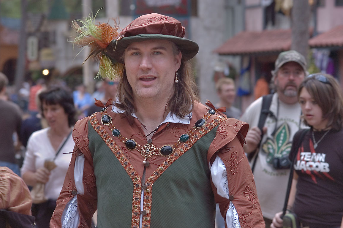 Dressed actor on a street at Texas Renaissance Festival. Plantersville, Texas