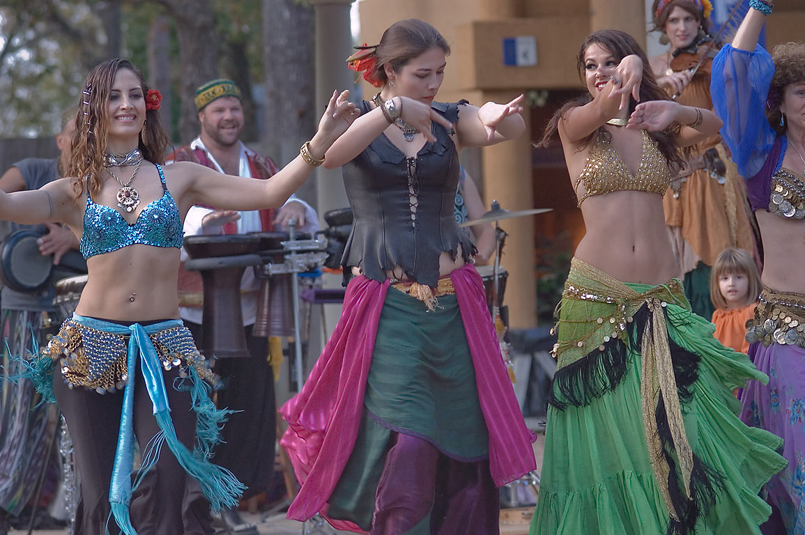 Belly dancing of Gypsy Dance Theatre at Texas Renaissance Festival. Plantersville, Texas