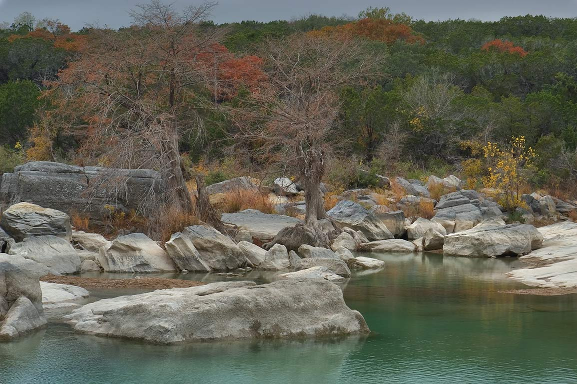 Pond above Pedernales Falls. Johnson City, Texas