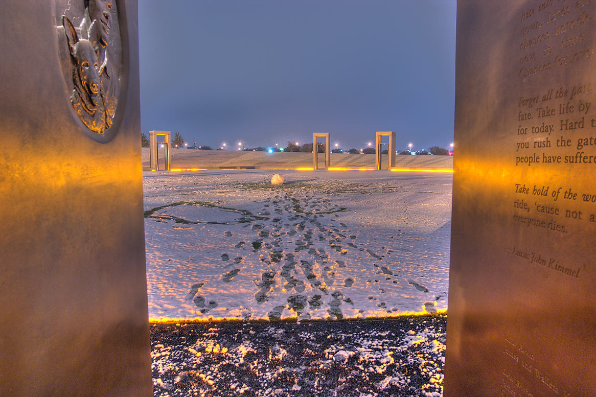 Looking through a portal on Bonfire Memorial with...M University. College Station, Texas