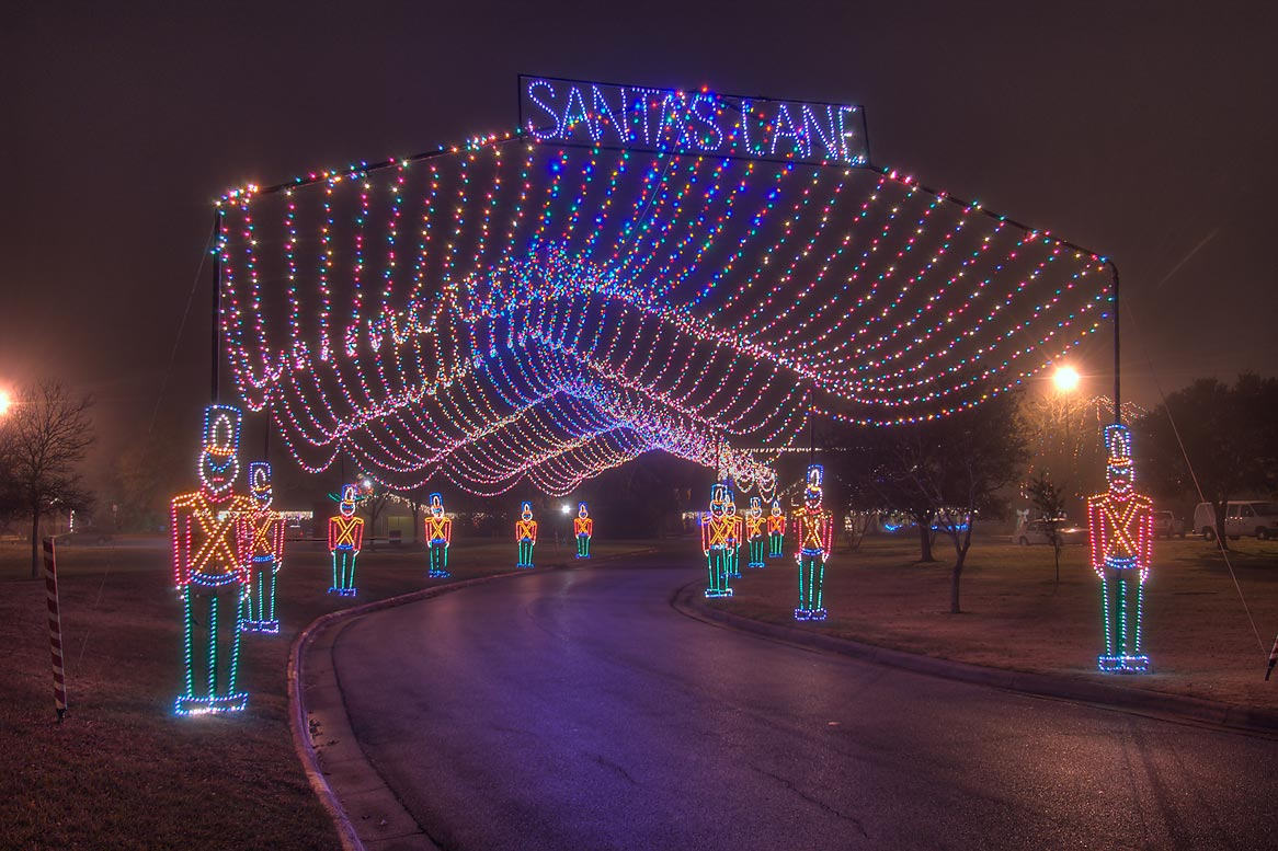 "Christmas show ""Santa's Lane"" in Central Park. College Station, Texas"