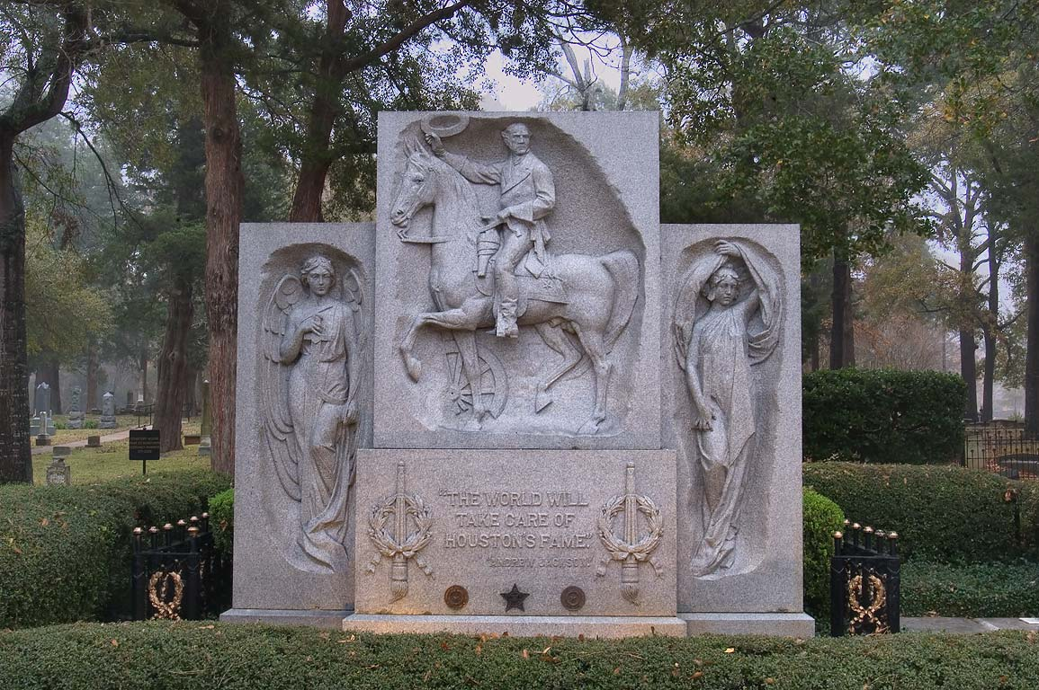 Grave of Sam Houston at west entrance of Oakwood...view from Ave. I. Huntsville, Texas