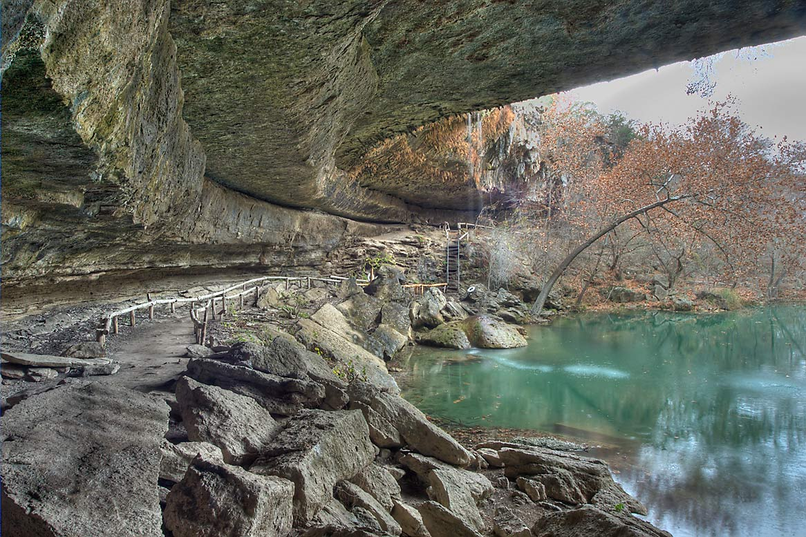 Hamilton Pool and waterfall. West from Austin, Texas