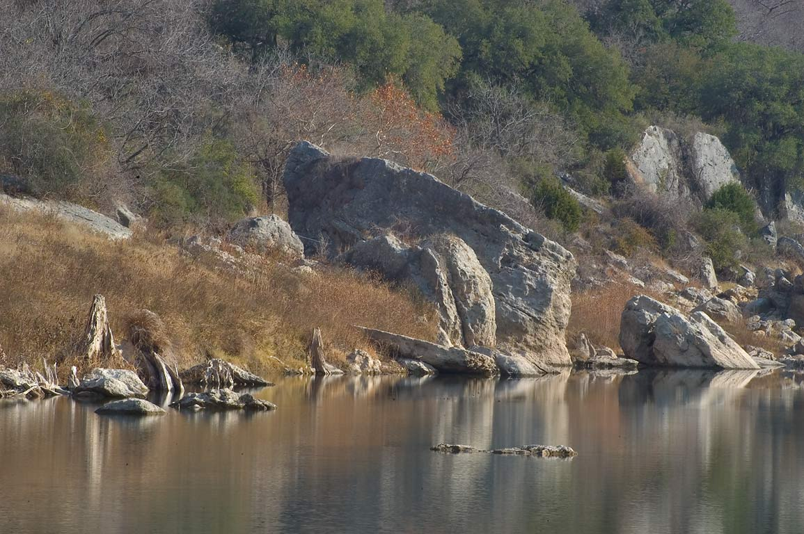 Rocks and Pedernales River in Reimers Ranch park. West from Austin, Texas