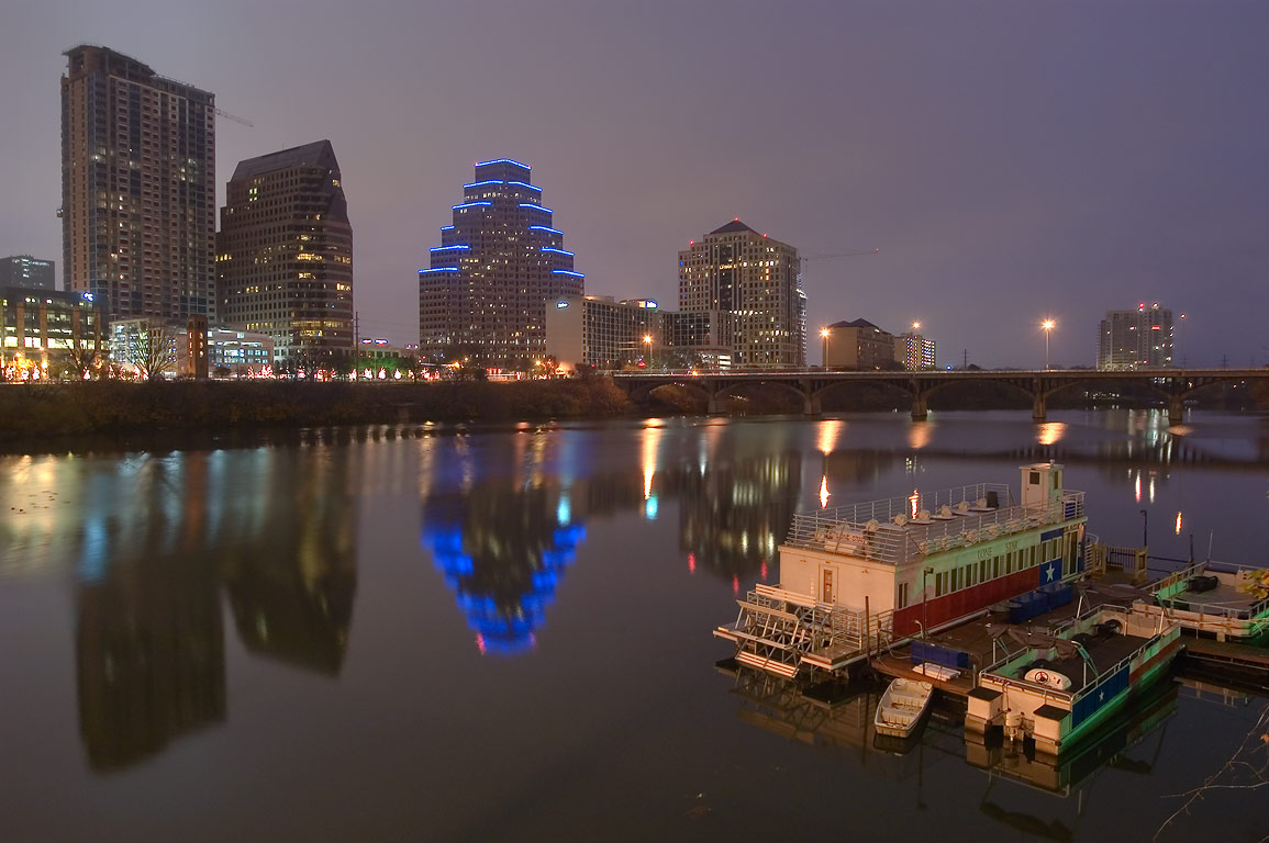 Town Lake from First St. Bridge at morning. Austin, Texas
