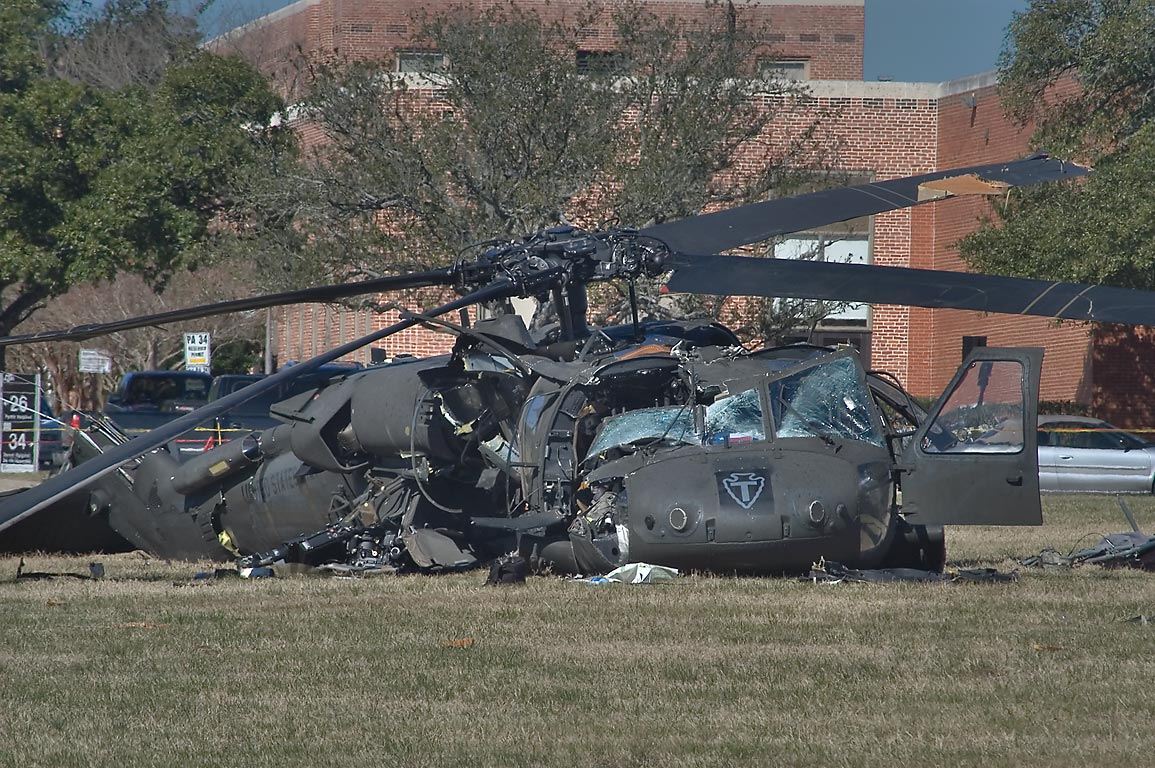 Black Hawk helicopter crashed on Duncan Field on...in background. College Station, Texas
