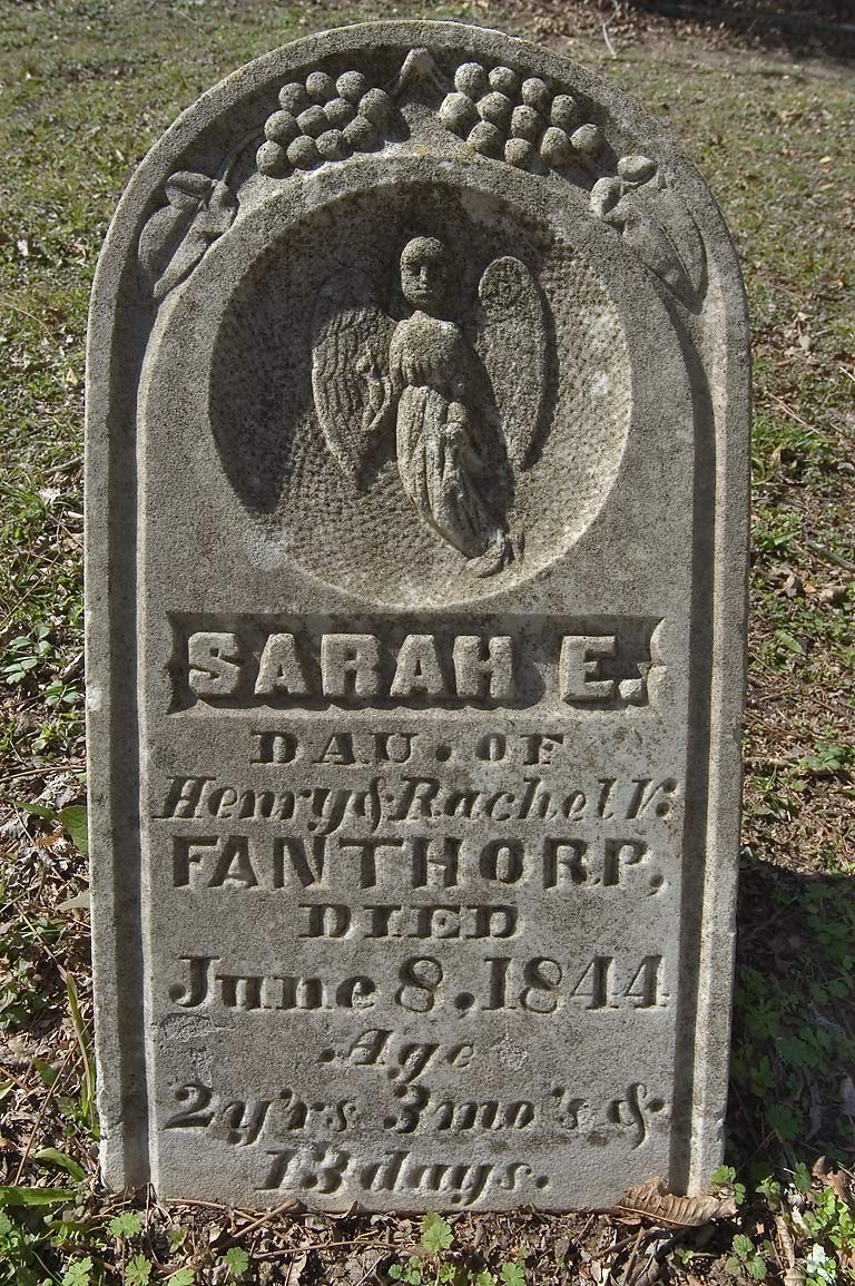 Tomb of Sarah E. Fanthorp (1842-1844) in Fanthorp Cemetery. Anderson, Texas