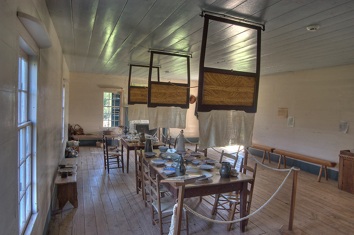 Communal dining table with mock food in Fanthorp...stagecoach inn). Anderson, Texas