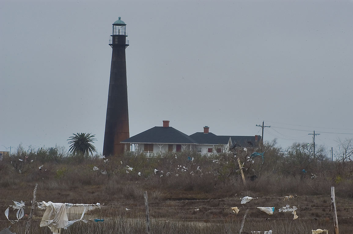 Lighthouse in Port Bolivar, view from Rd. 108 spur. Texas