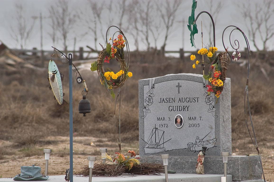 Tomb of a fisherman J. A. G. (1972-2005) in Port Bolivar Cemetery. Texas