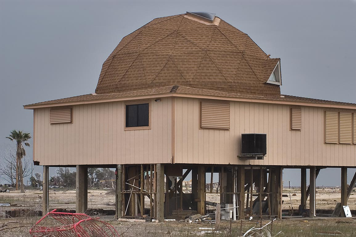 Round hurricane-proof summer house at 1200 block of Anderson Ave.. Port Bolivar, Texas