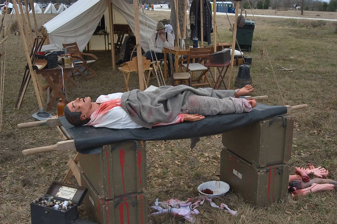 Re-creation of a field hospital at third annual...at Lake Madison. Madisonville, Texas