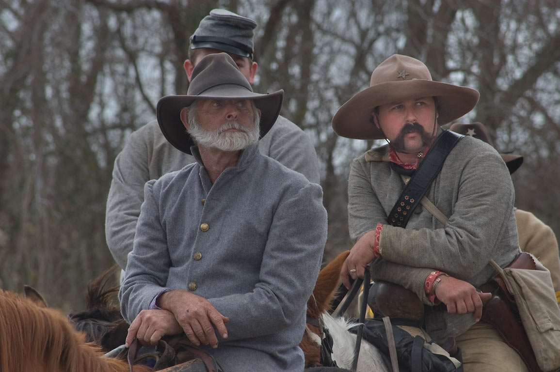 Actors on horses playing Confederate cavalry at...at Lake Madison. Madisonville, Texas