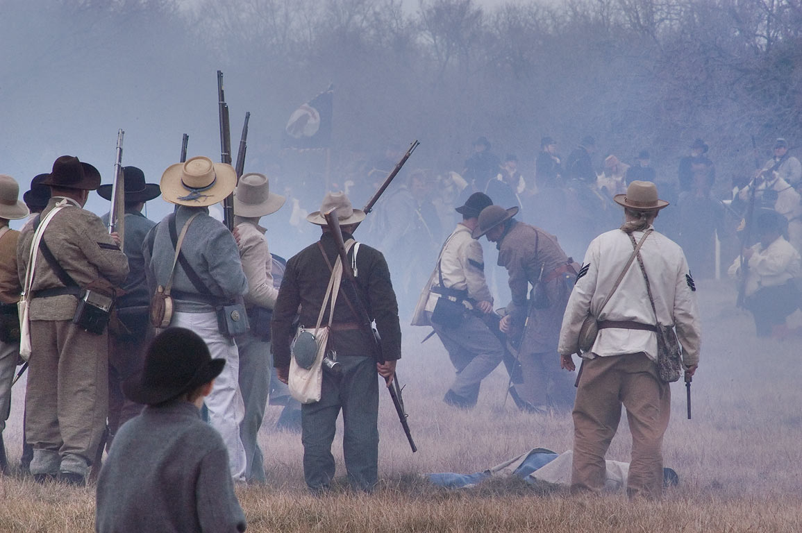 Battle of infantry at third annual 8th Texas...at Lake Madison. Madisonville, Texas