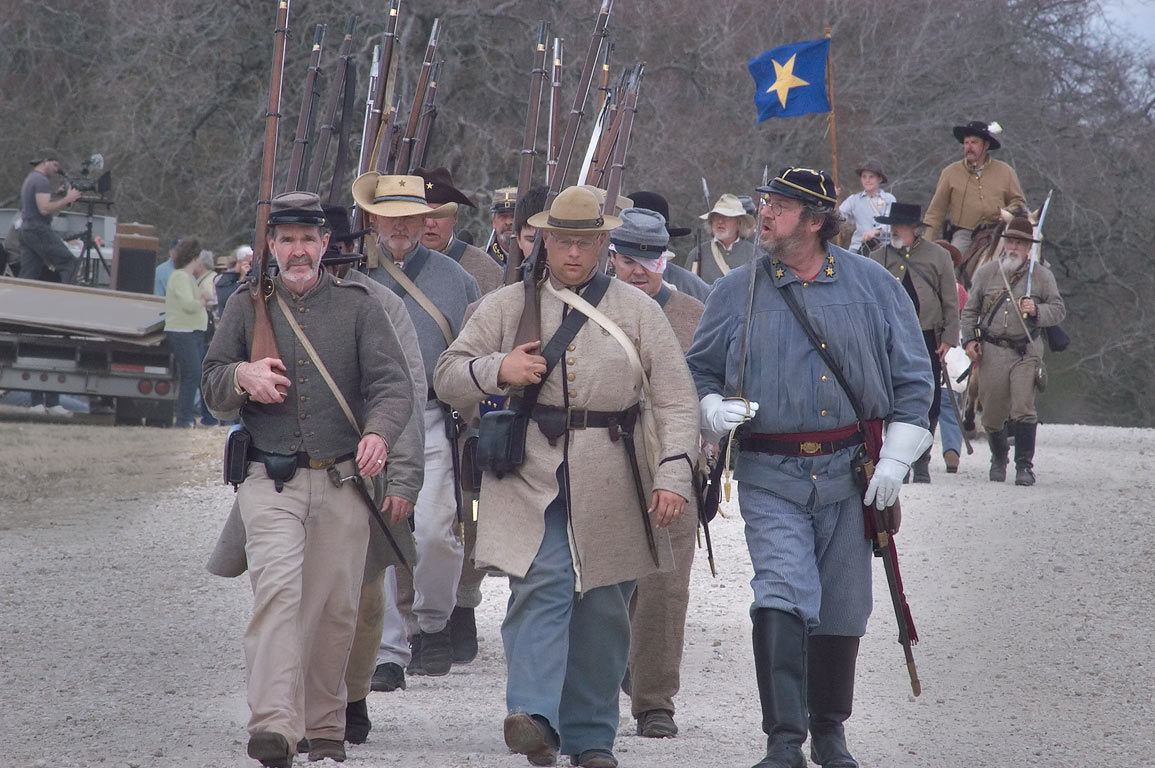 Marching Confederate army after third annual 8th...at Lake Madison. Madisonville, Texas