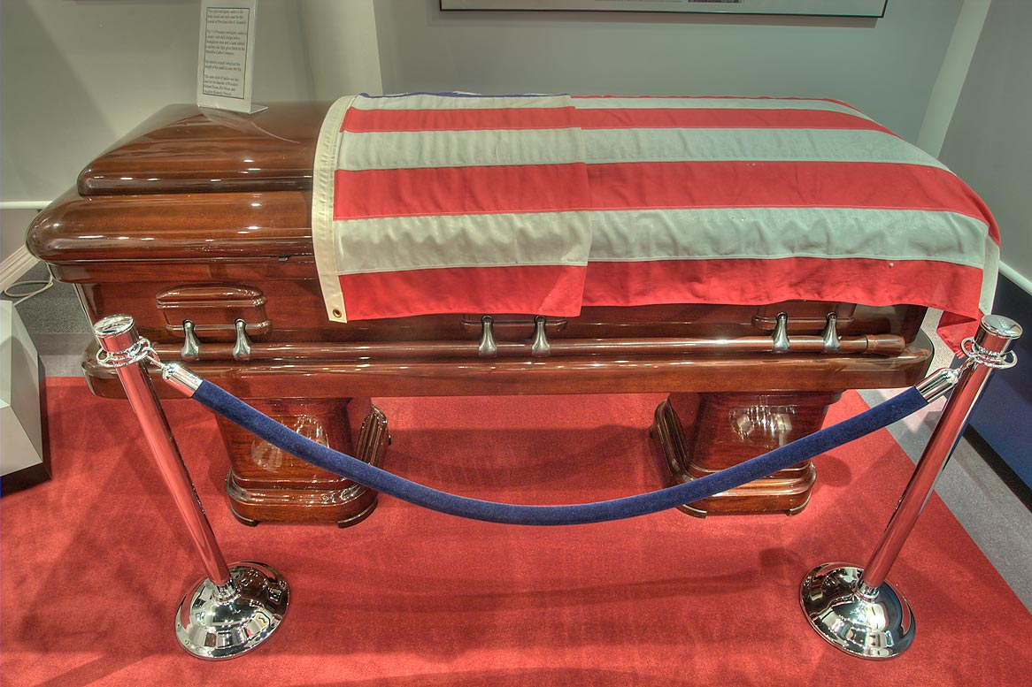 Coffin for American presidents on display in...of Funeral History. Houston, Texas