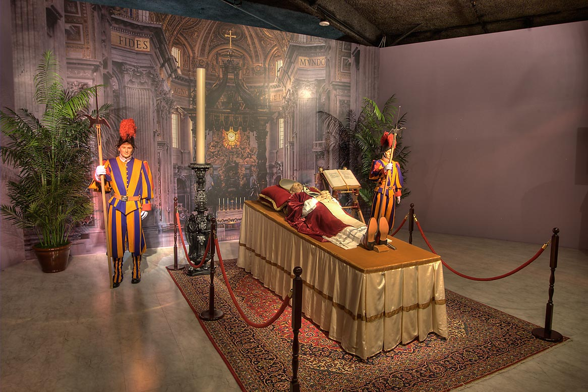 Re-creation of a pope lying in state at St. Peter...of Funeral History. Houston, Texas
