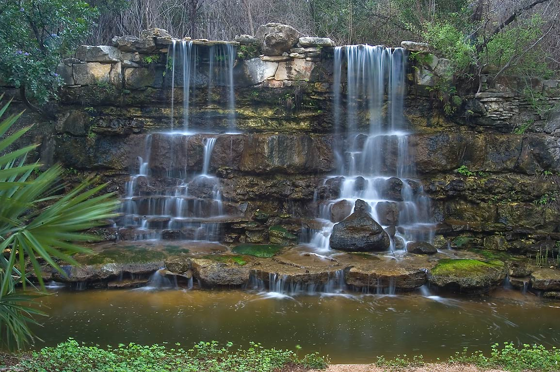 Twin artificial waterfall in Zilker Botanical Gardens, Austin, Texas