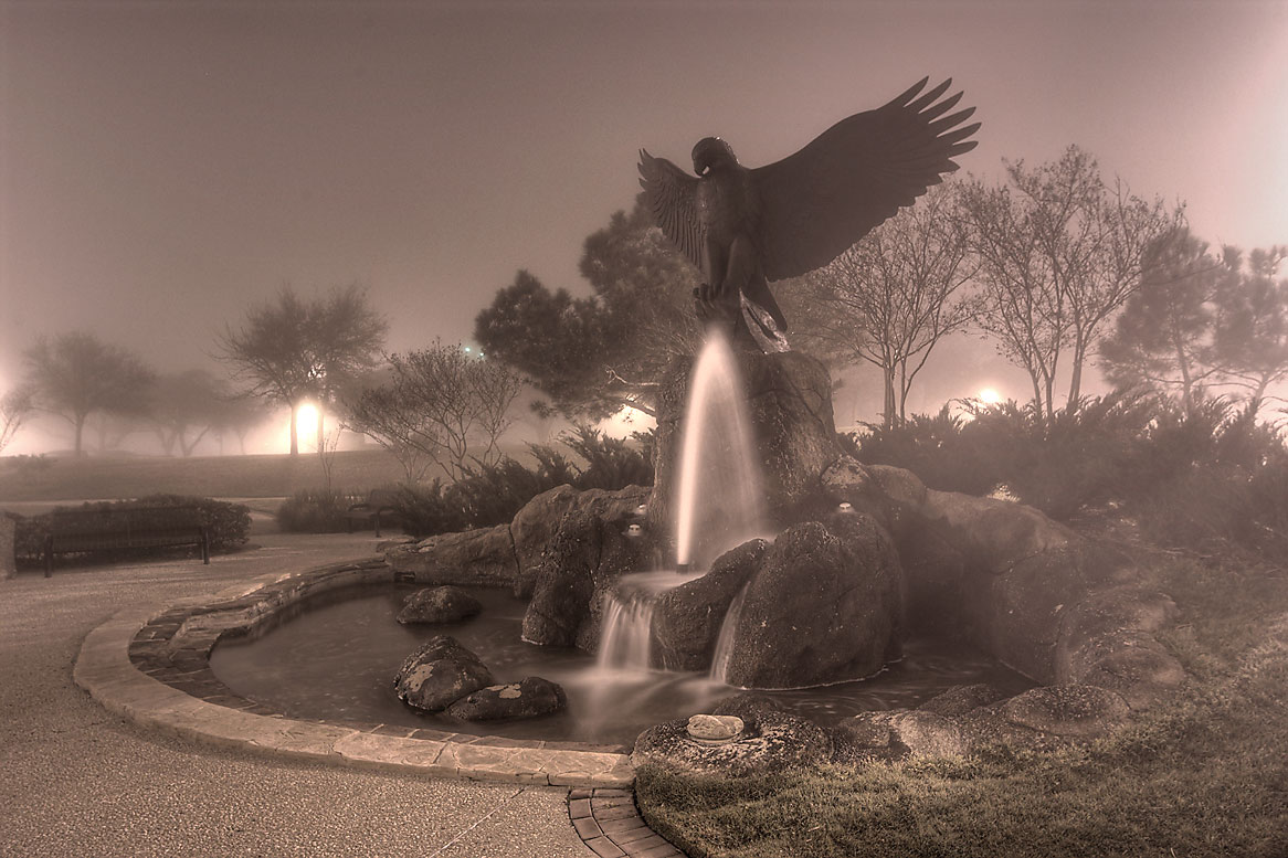 Victory Eagle (Kent Ullberg, 1993) in Cain Park...of a fountain. College Station, Texas