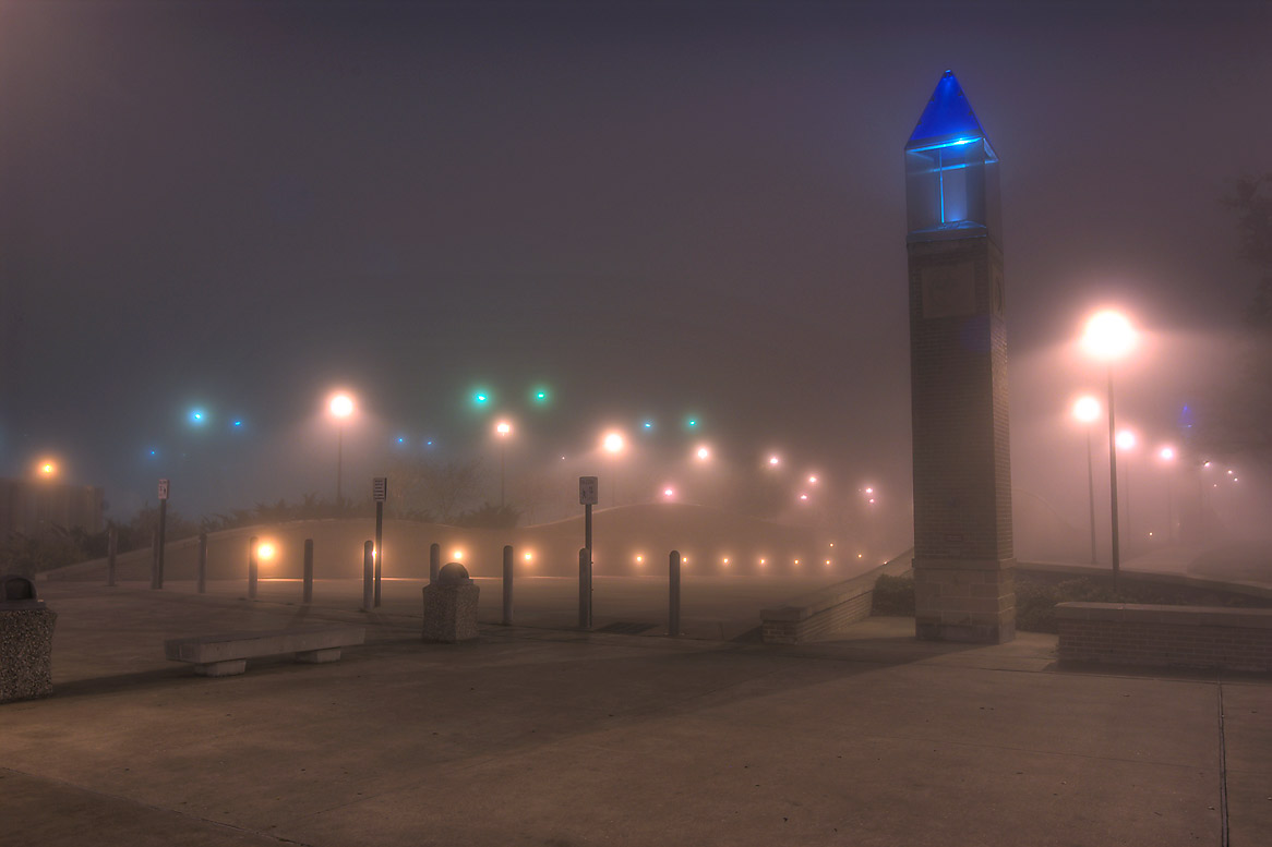 Pedestrian passageway near Joe Routt Rd. on...in fog. College Station, Texas