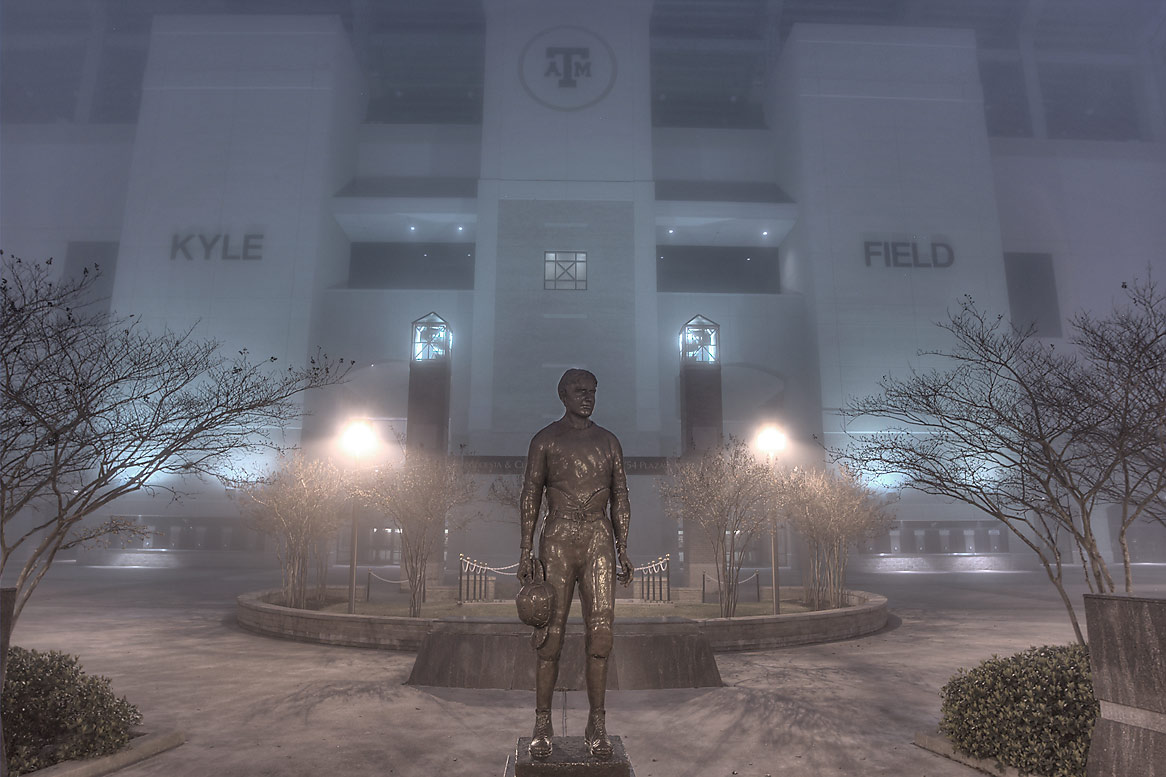 "Twelfth Man, E. King Gill statue (George E. ""Pat...in fog. College Station, Texas"