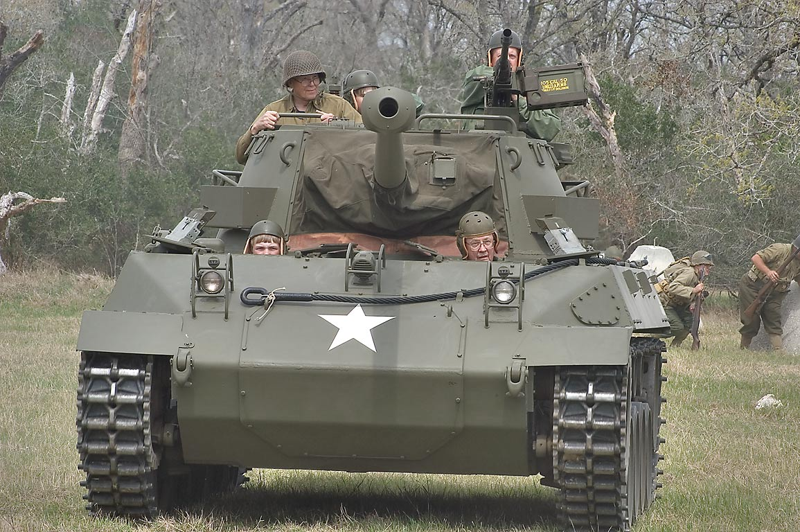 A tank at WWII re-enactment in Museum of the American GI. College Station, Texas