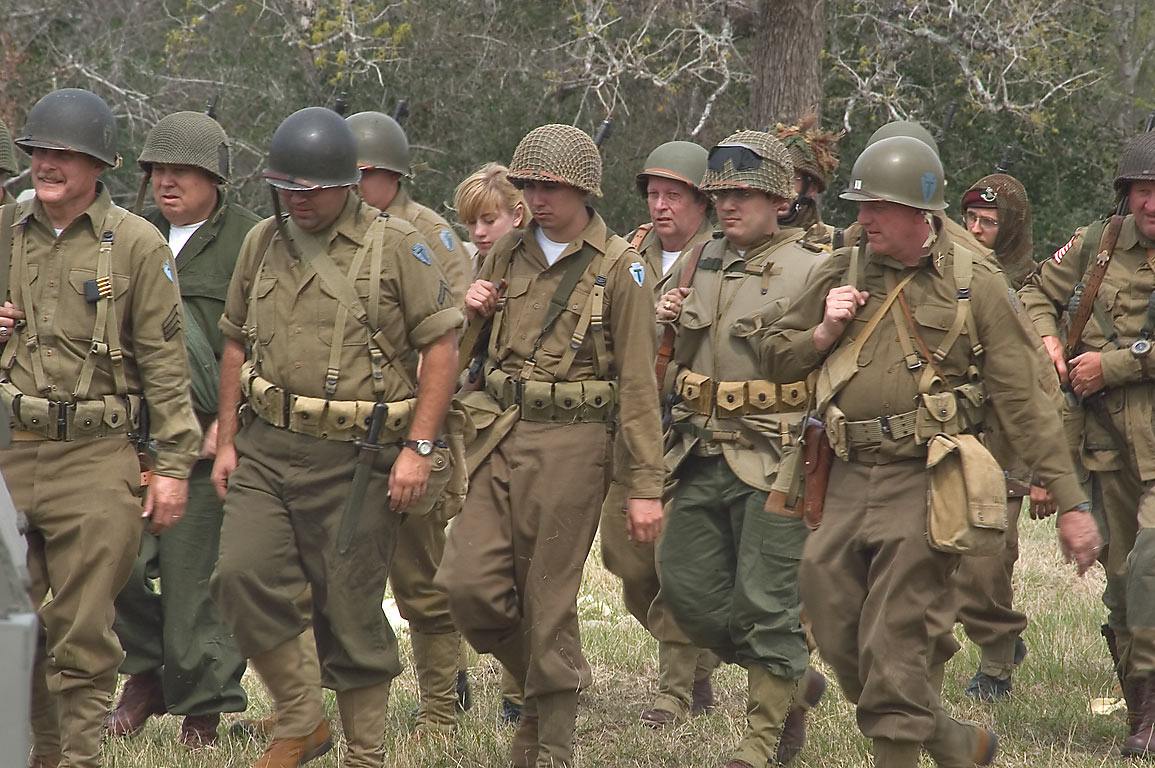 Infantry on show at WWII re-enactment in Museum of the American GI. College Station, Texas