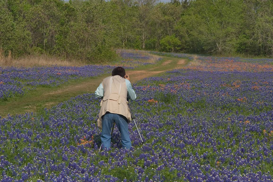 Photographer with a tripod taking pictures of a...State Historic Site. Washington, Texas