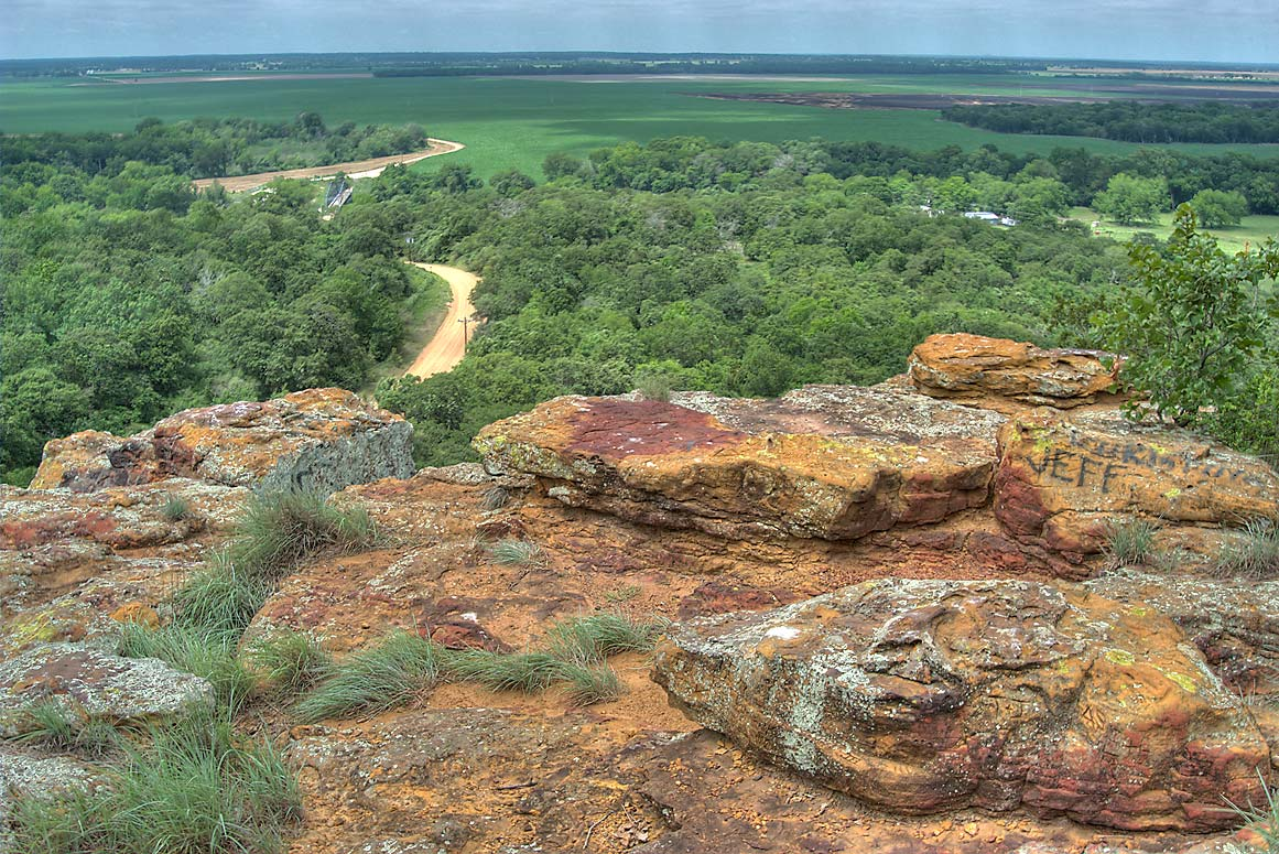 Top of Sugarloaf Mountain, with view Rd. 364 to the north. Gause, Texas