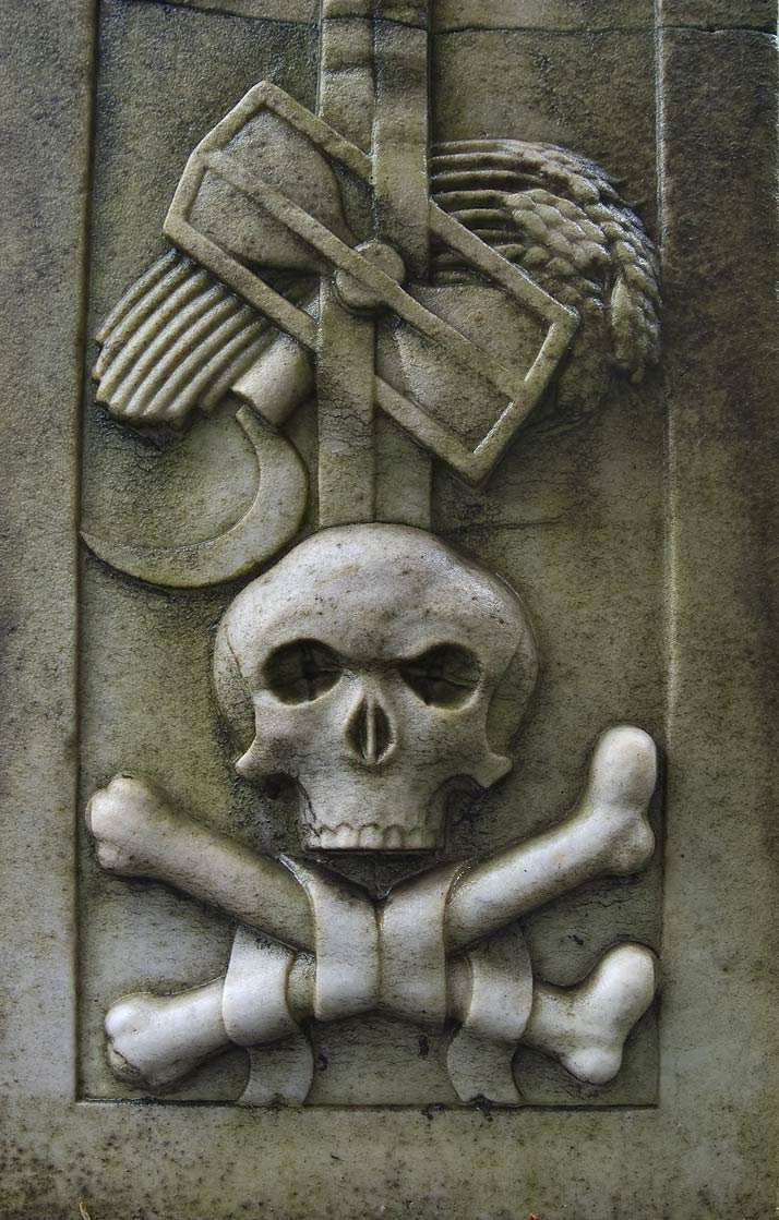 Symbols of death on a tomb in Necropolis of...Cemetery). St.Petersburg, Russia