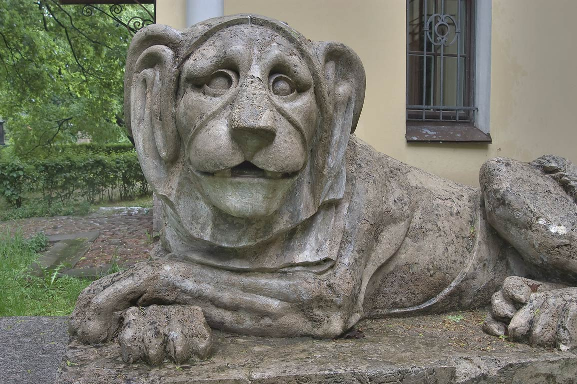 Lion sculpture in Necropolis of Alexander Nevsky...Cemetery). St.Petersburg, Russia