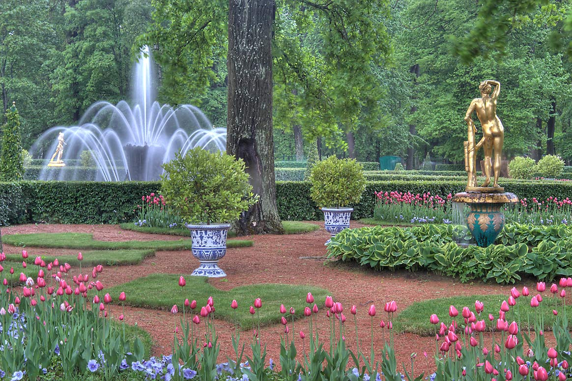 Garden in front of Monplaisir Palace in Peterhof...near St.Petersburg. Russia
