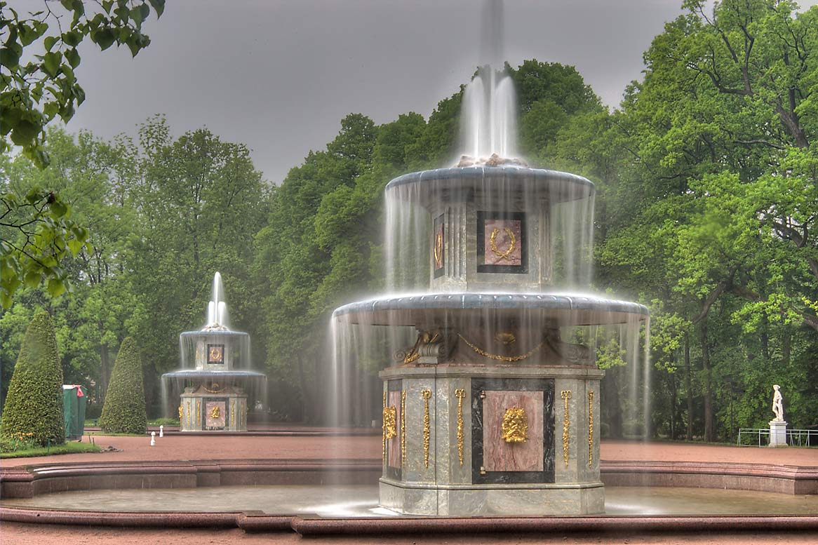 Roman fountains in peterhof petrodvorets near st petersburg russia