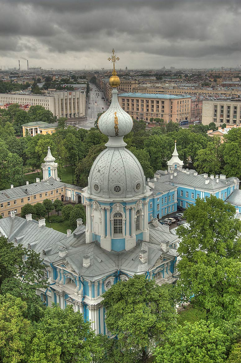 Smolny monastery from bell tower of Smolny Cathedral. St.Petersburg, Russia