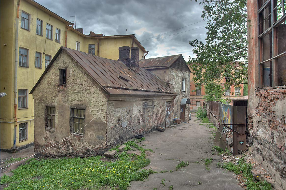 Medieval house near crossing of Krasina and Krepostnaya streets. Vyborg, Russia