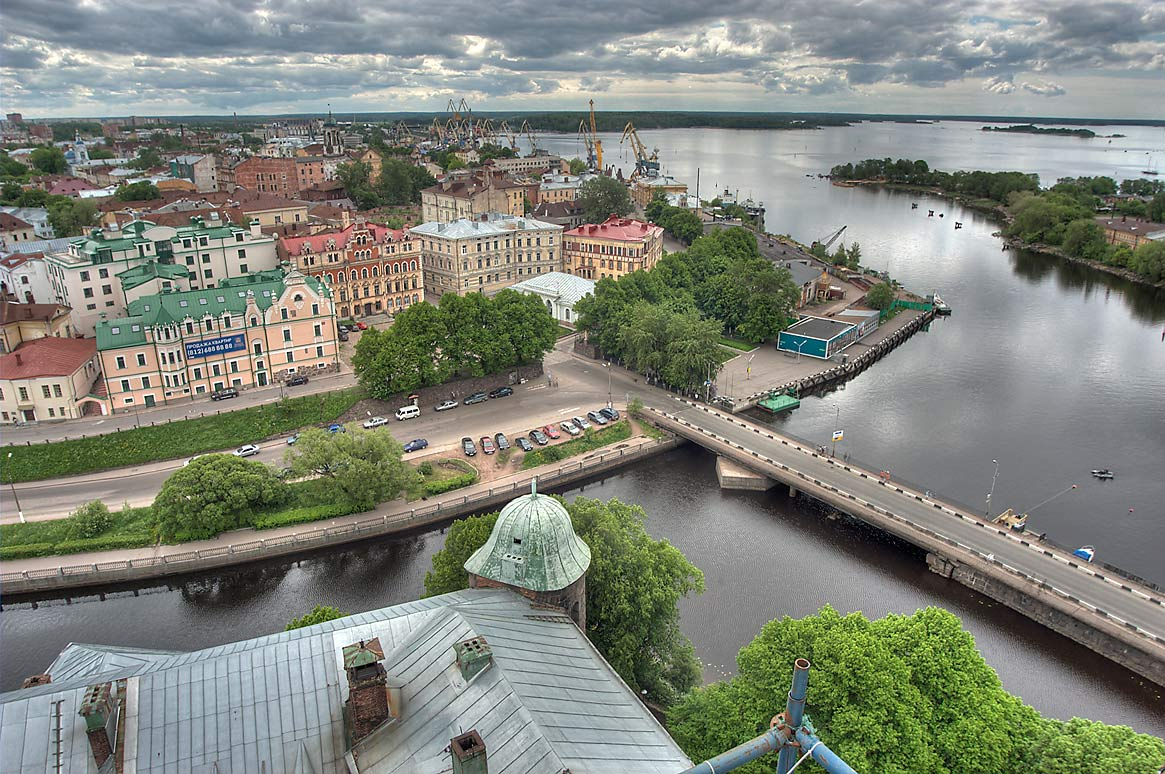 Old City and south harbor terminal south from St...Tower of Vyborg Castle. Vyborg, Russia