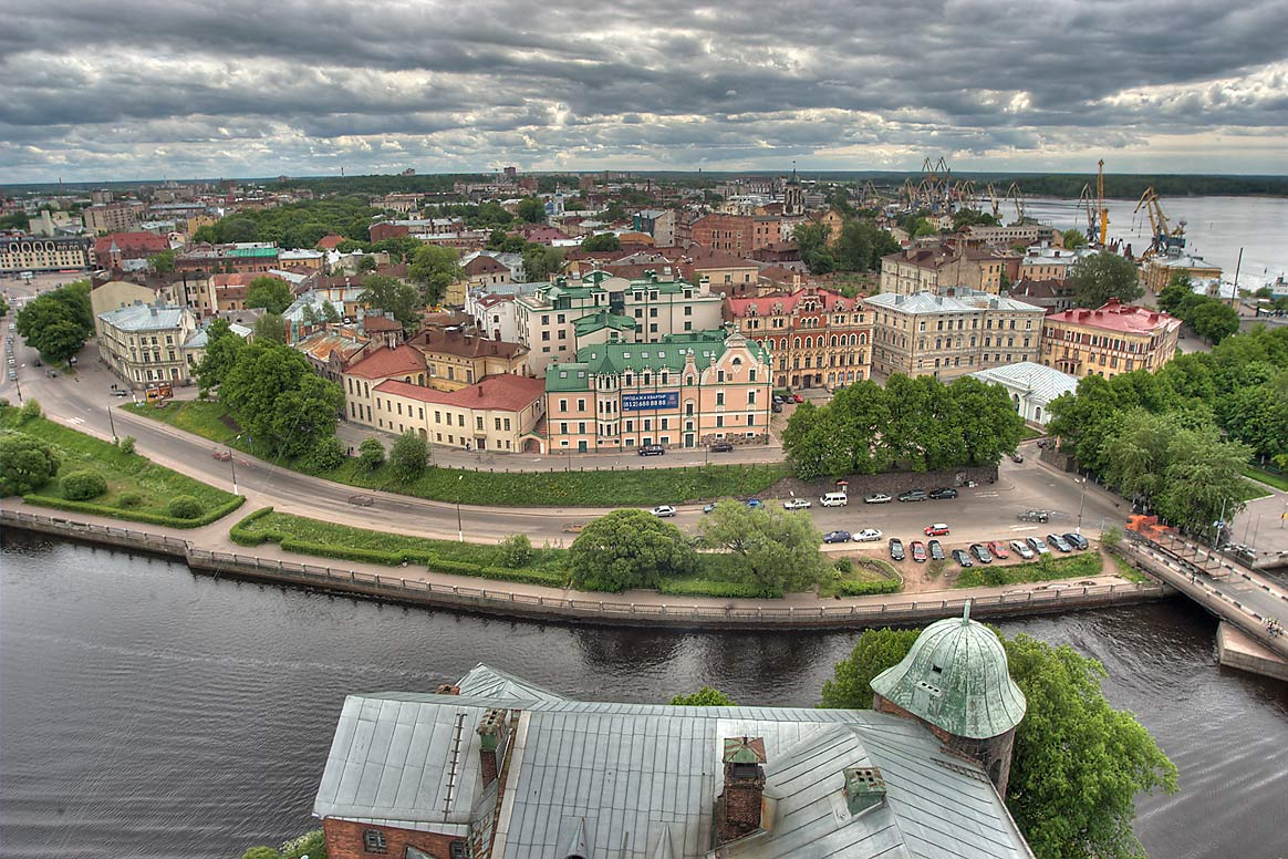 Paradise Tower of Vyborg Castle, Naberezhnaya 40...from St. Olaf Tower. Vyborg, Russia
