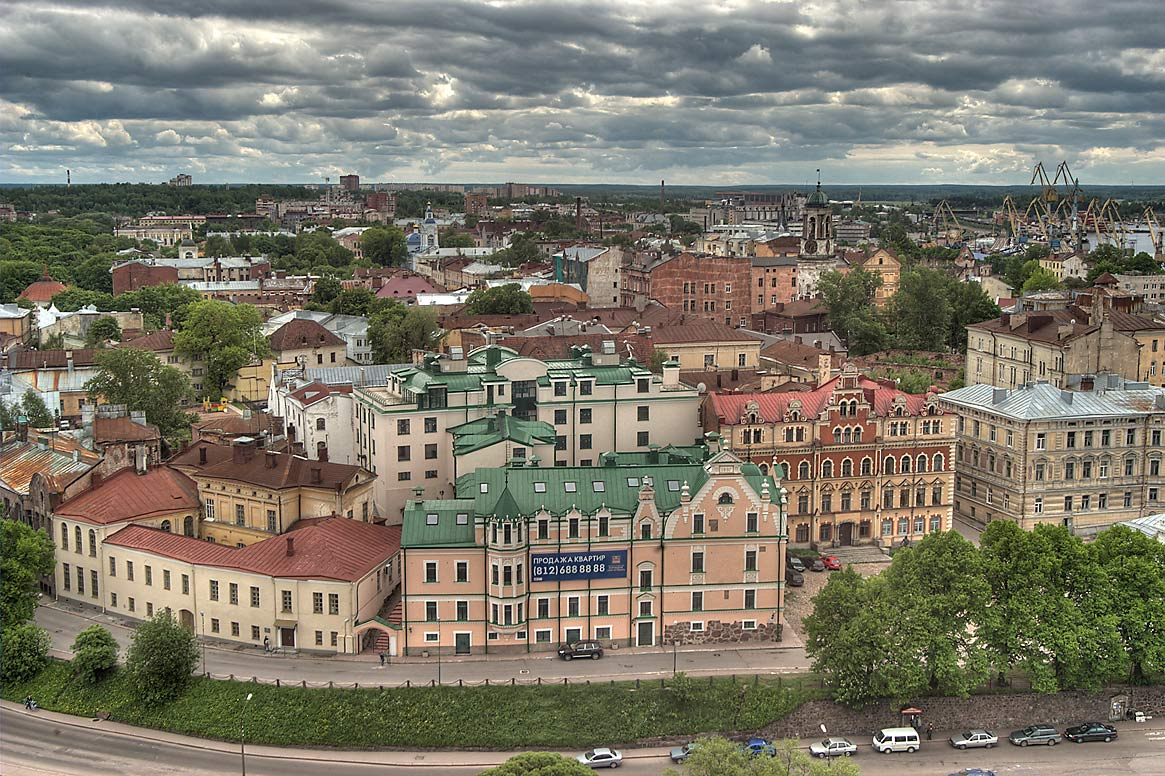 Old City south-east from St. Olaf Tower of Vyborg Castle. Vyborg, Russia