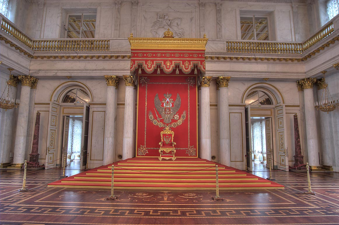 Throne (Georgian) Hall in Hermitage Museum. St.Petersburg, Russia